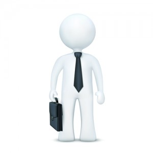 3d character with suitcase and wearing tie standing